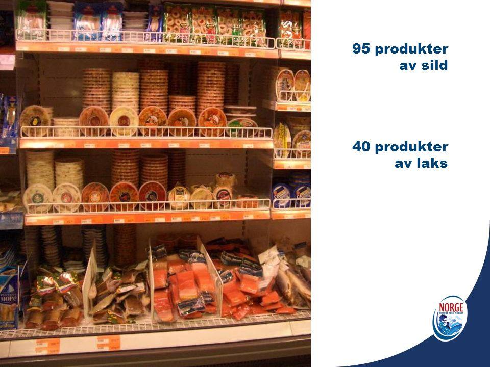 95 produkter av sild 40 produkter av laks