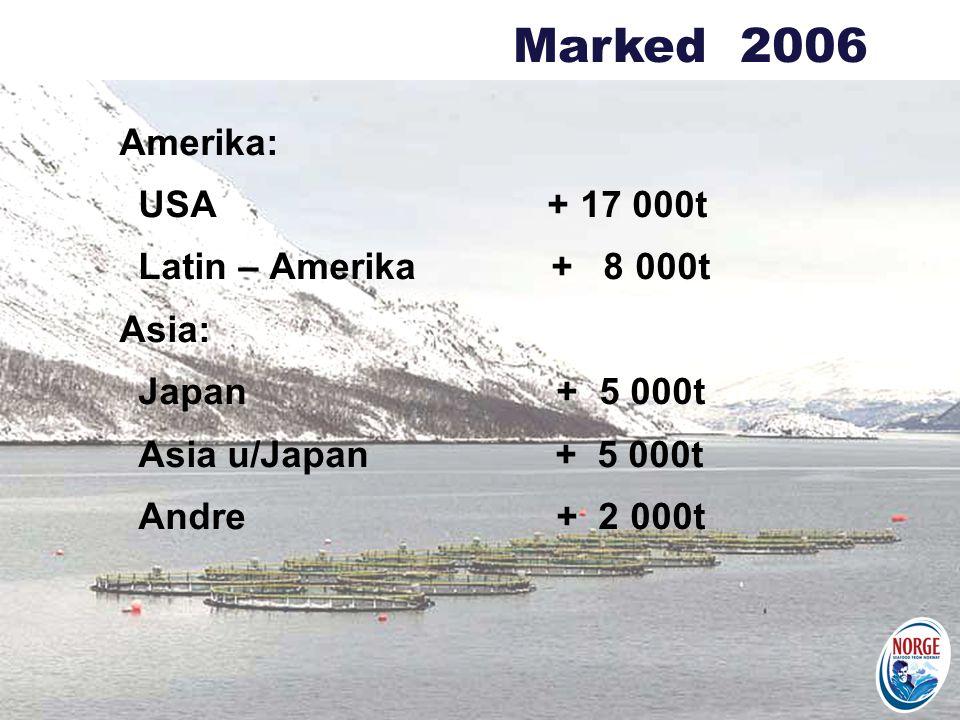 Amerika: USA + 17 000t Latin – Amerika + 8 000t Asia: Japan + 5 000t Asia u/Japan + 5 000t Andre + 2 000t Marked 2006