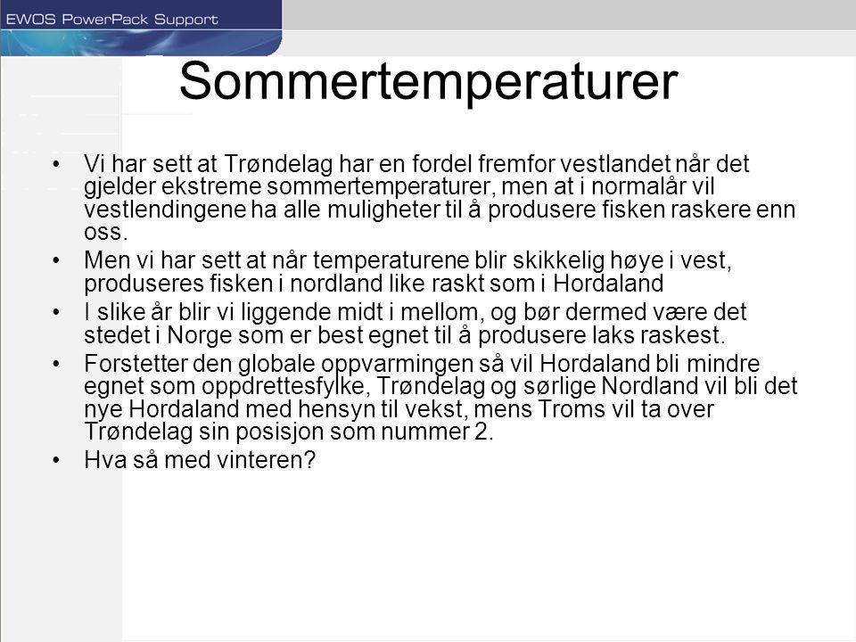 Sommertemperaturer Vi har sett at Trøndelag har en fordel fremfor vestlandet når det gjelder ekstreme sommertemperaturer, men at i normalår vil vestlendingene ha alle muligheter til å produsere fisken raskere enn oss.