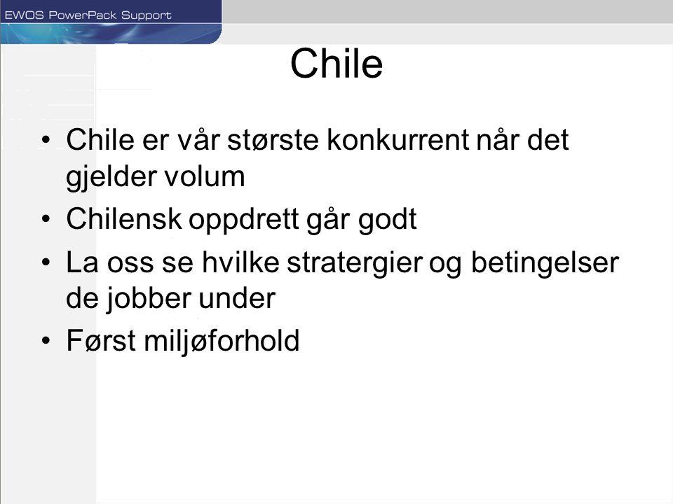 Chile Chile er vår største konkurrent når det gjelder volum Chilensk oppdrett går godt La oss se hvilke stratergier og betingelser de jobber under Først miljøforhold