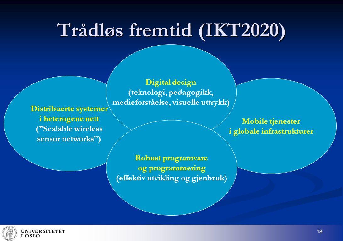 18 Distribuerte systemer i heterogene nett ( Scalable wireless sensor networks ) Trådløs fremtid (IKT2020) Mobile tjenester i globale infrastrukturer Digital design (teknologi, pedagogikk, medieforståelse, visuelle uttrykk) Robust programvare og programmering (effektiv utvikling og gjenbruk)