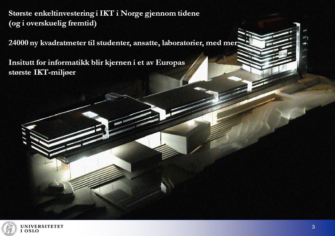 4 Rikshospitalet Medisin/helse ( Life Science ) Informatikks høyborg (Ifi, Sintef, NR, Usit, Intermedia) Miljøvitenskap Forskningsparken Naturvitenskap Samfunnsvitenskap Humaniora
