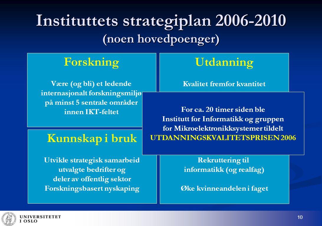 10 Instituttets strategiplan 2006-2010 (noen hovedpoenger) Forskning Være (og bli) et ledende internasjonalt forskningsmiljø på minst 5 sentrale områder innen IKT-feltet Kunnskap i bruk Utvikle strategisk samarbeid utvalgte bedrifter og deler av offentlig sektor Forskningsbasert nyskaping Utdanning Kvalitet fremfor kvantitet Samfunnsansvar Rekruttering til informatikk (og realfag) Øke kvinneandelen i faget For ca.