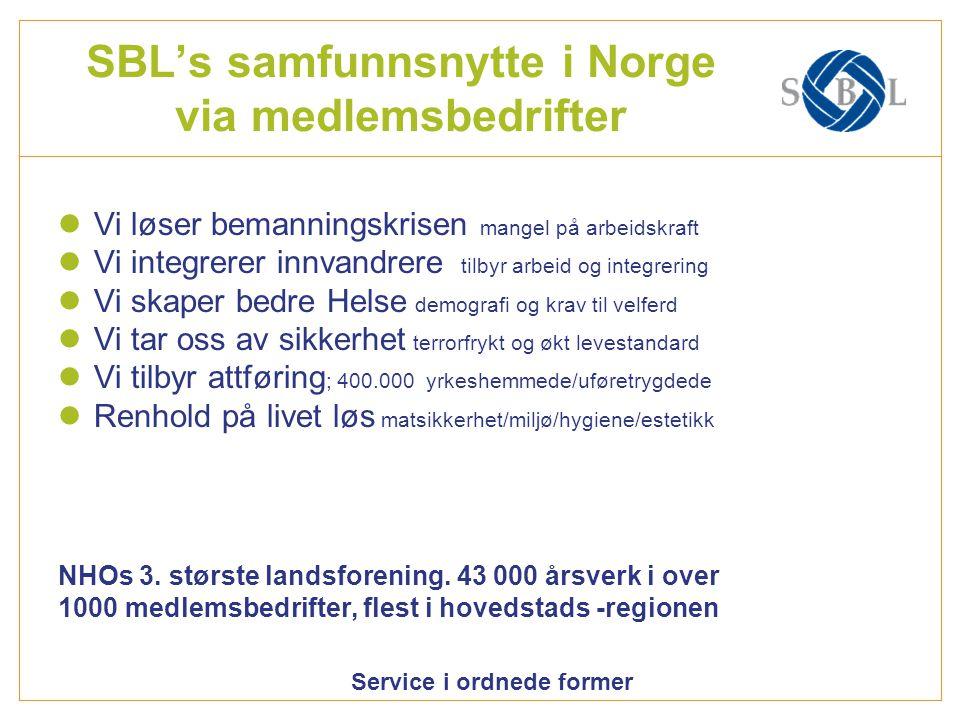 Service i ordnede former Helse og – Omsorgsbransjen i SBL Hvem er vi .