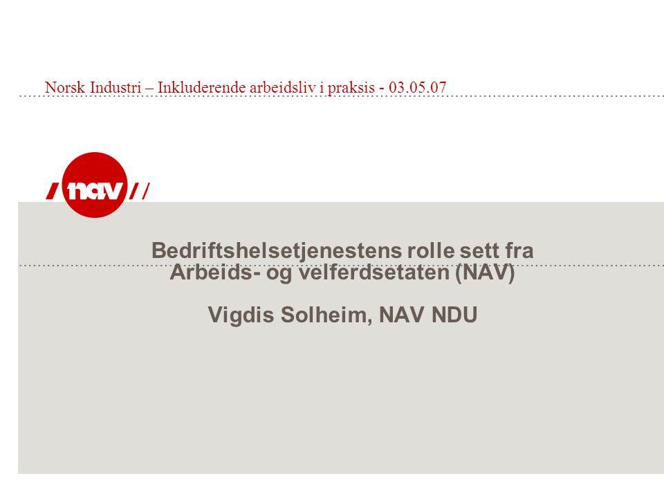Bedriftshelsetjenestens rolle sett fra Arbeids- og velferdsetaten (NAV) Vigdis Solheim, NAV NDU Norsk Industri – Inkluderende arbeidsliv i praksis - 0