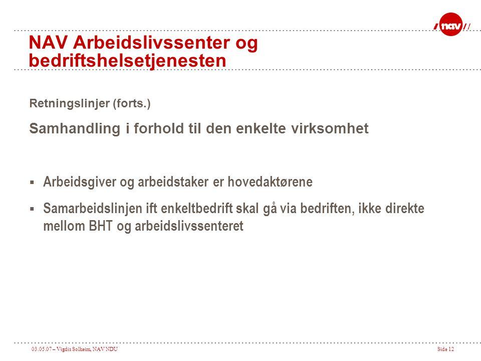 03.05.07 – Vigdis Solheim, NAV NDUSide 12 NAV Arbeidslivssenter og bedriftshelsetjenesten Retningslinjer (forts.) Samhandling i forhold til den enkelt
