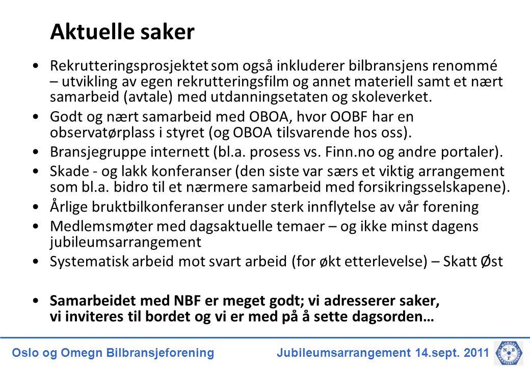 Oslo og Omegn Bilbransjeforening Jubileumsarrangement 14.sept. 2011 Aktuelle saker Rekrutteringsprosjektet som også inkluderer bilbransjens renommé –