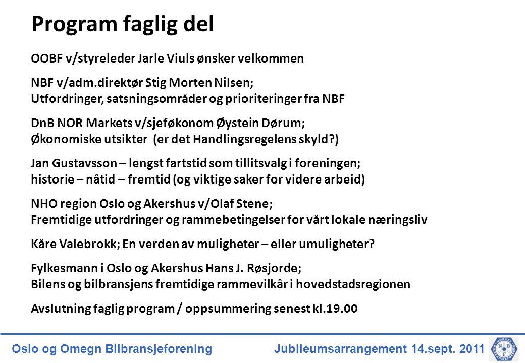 Oslo og Omegn Bilbransjeforening Jubileumsarrangement 14.sept. 2011 Program faglig del OOBF v/styreleder Jarle Viuls ønsker velkommen NBF v/adm.direkt