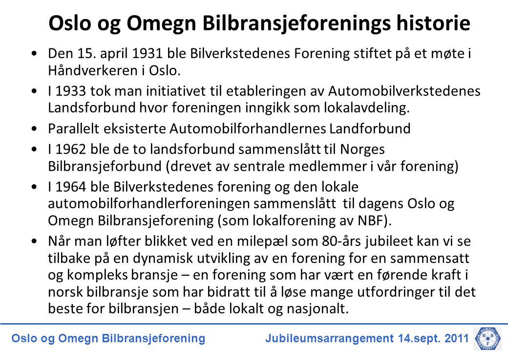Oslo og Omegn Bilbransjeforening Jubileumsarrangement 14.sept. 2011 Oslo og Omegn Bilbransjeforenings historie Den 15. april 1931 ble Bilverkstedenes