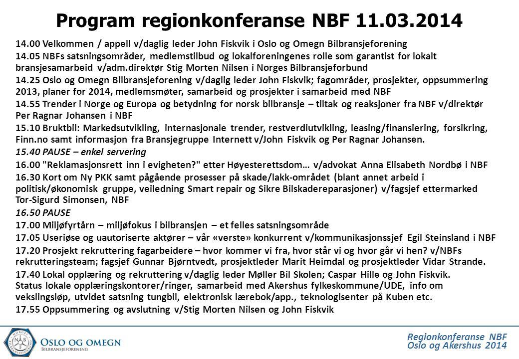 Regionkonferanse NBF Oslo og Akershus 2014 Program regionkonferanse NBF 11.03.2014 14.00 Velkommen / appell v/daglig leder John Fiskvik i Oslo og Omeg