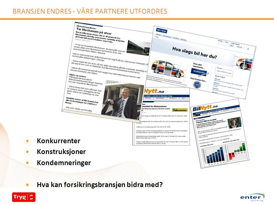 BRANSJEN ENDRES - VÅRE PARTNERE UTFORDRES Konkurrenter Konstruksjoner Kondemneringer Hva kan forsikringsbransjen bidra med?