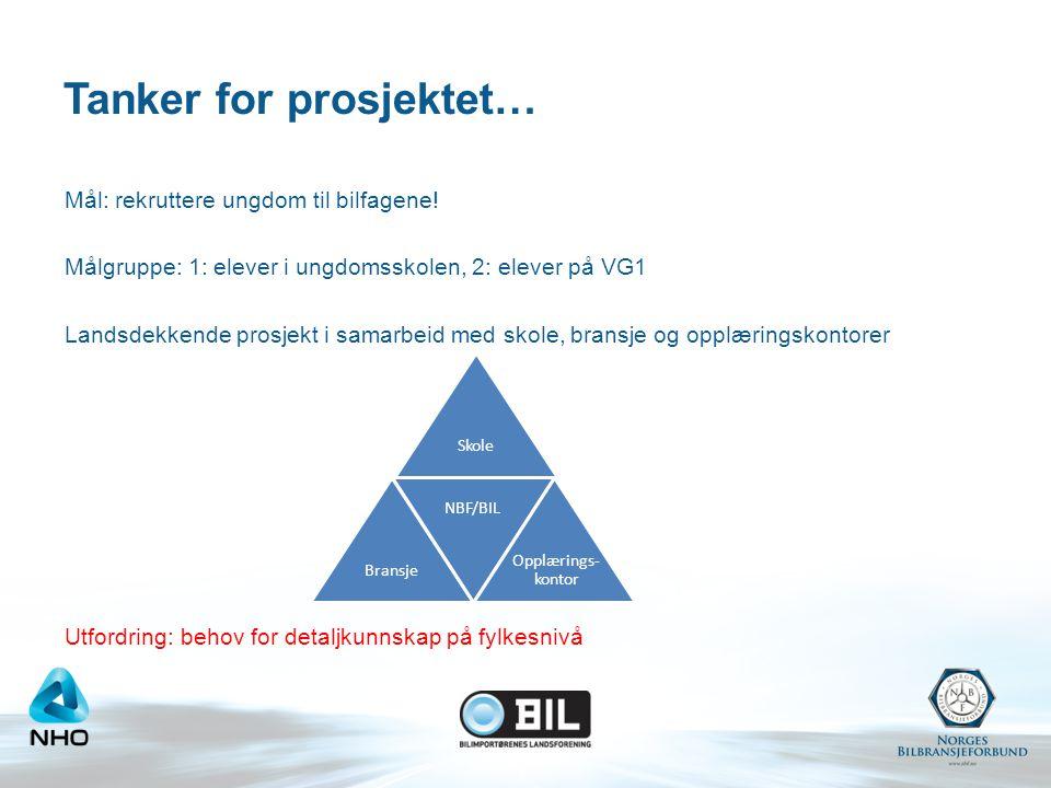 Tanker for prosjektet… Mål: rekruttere ungdom til bilfagene.