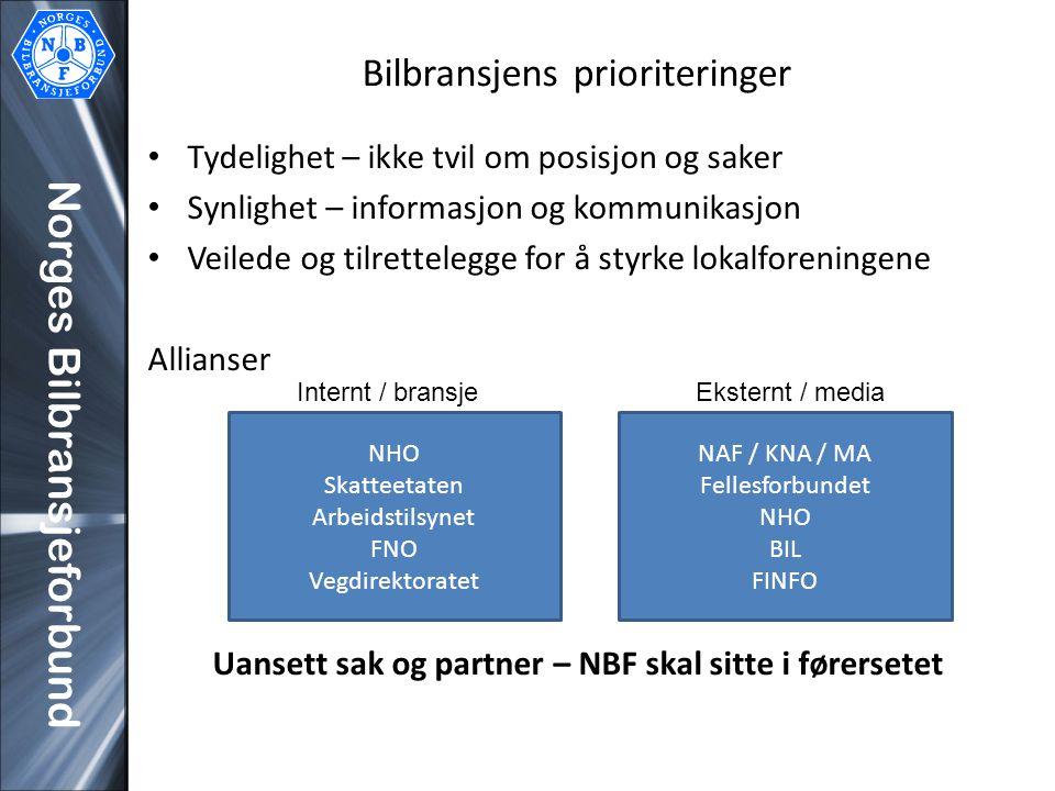 Norges Bilbransjeforbund Bilbransjens prioriteringer Tydelighet – ikke tvil om posisjon og saker Synlighet – informasjon og kommunikasjon Veilede og t
