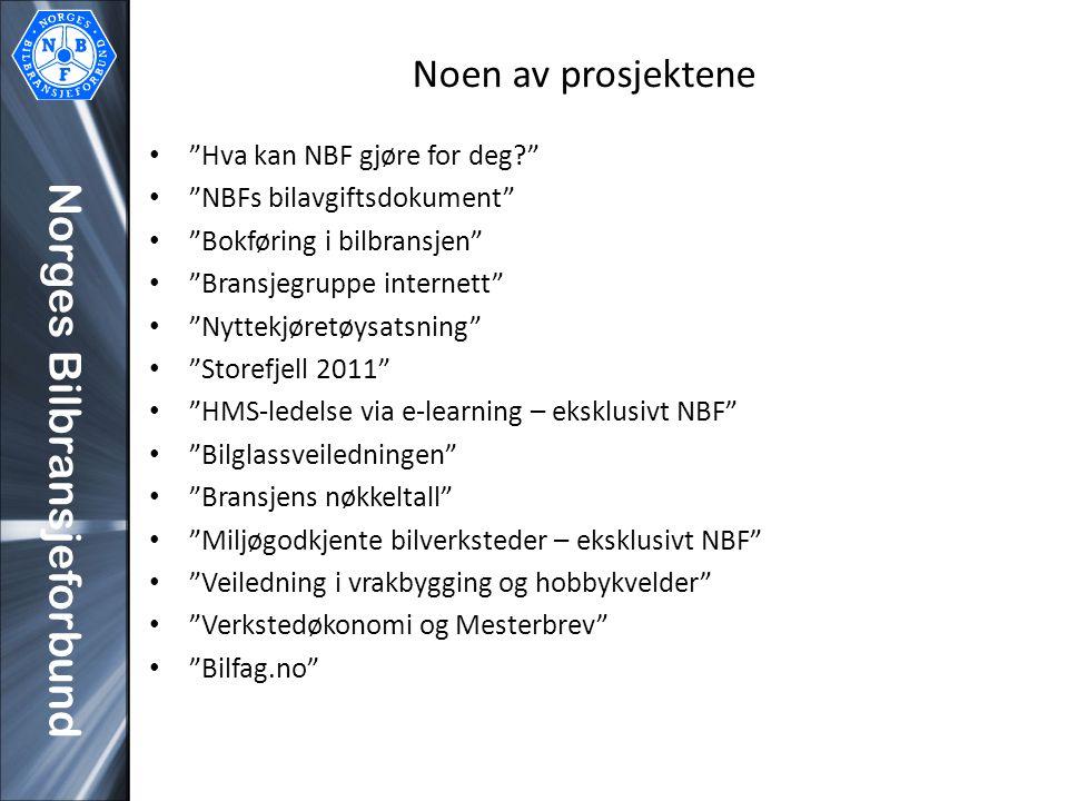"""Norges Bilbransjeforbund Noen av prosjektene """"Hva kan NBF gjøre for deg?"""" """"NBFs bilavgiftsdokument"""" """"Bokføring i bilbransjen"""" """"Bransjegruppe internett"""