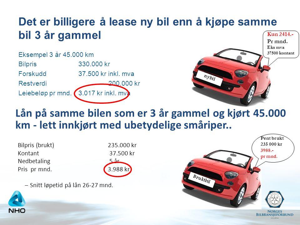 Det er billigere å lease ny bil enn å kjøpe samme bil 3 år gammel Eksempel 3 år 45.000 km Bilpris330.000 kr Forskudd 37.500 kr inkl. mva Restverdi 200