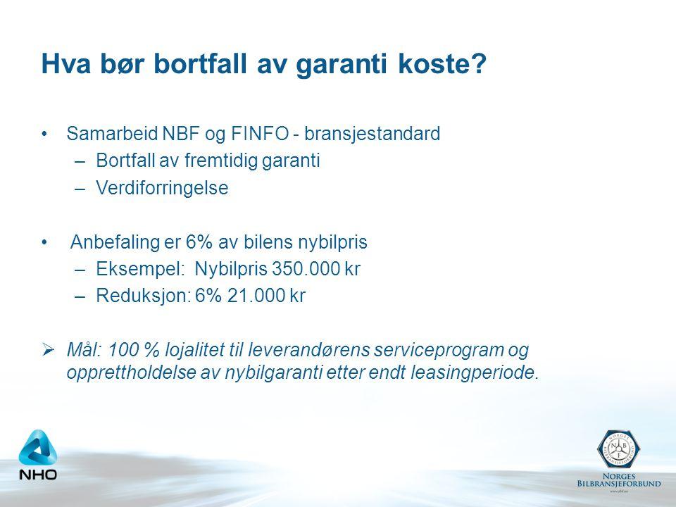 Hva bør bortfall av garanti koste? Samarbeid NBF og FINFO - bransjestandard –Bortfall av fremtidig garanti –Verdiforringelse Anbefaling er 6% av bilen