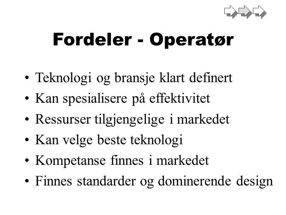 Fordeler - Operatør Teknologi og bransje klart definert Kan spesialisere på effektivitet Ressurser tilgjengelige i markedet Kan velge beste teknologi