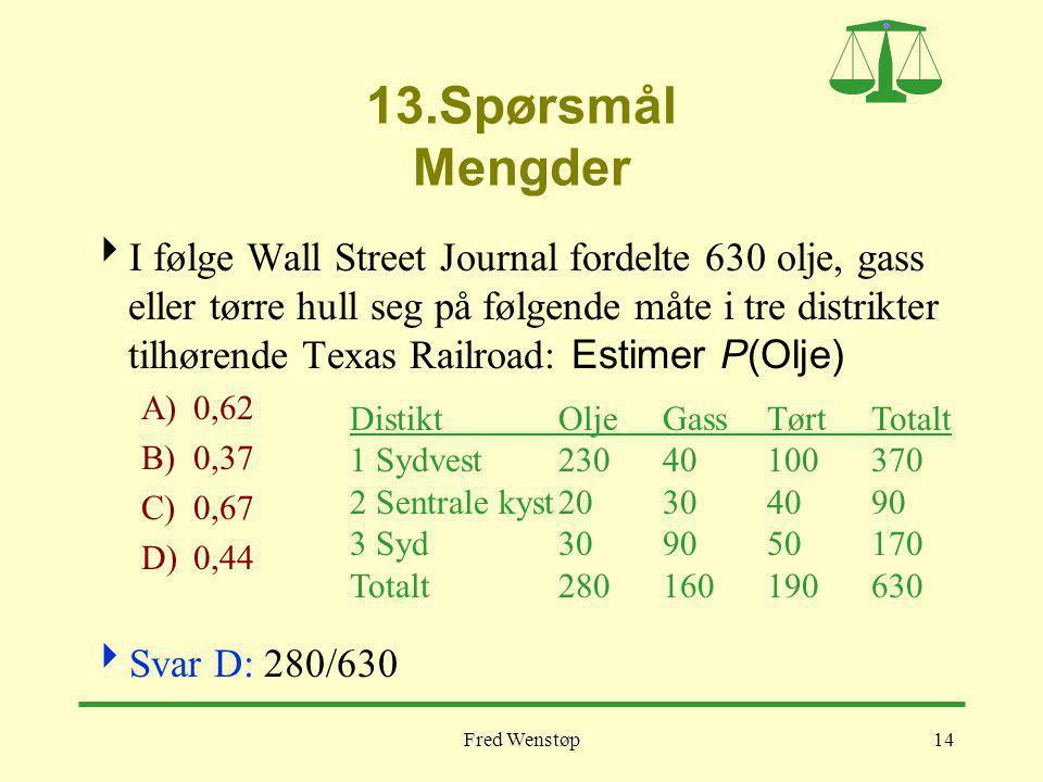 Fred Wenstøp14 13.Spørsmål Mengder  I følge Wall Street Journal fordelte 630 olje, gass eller tørre hull seg på følgende måte i tre distrikter tilhørende Texas Railroad: Estimer P(Olje) A)0,62 B)0,37 C)0,67 D)0,44  Svar D: 280/630 DistiktOljeGassTørtTotalt 1 Sydvest23040100370 2 Sentrale kyst20304090 3 Syd309050170 Totalt280160190630