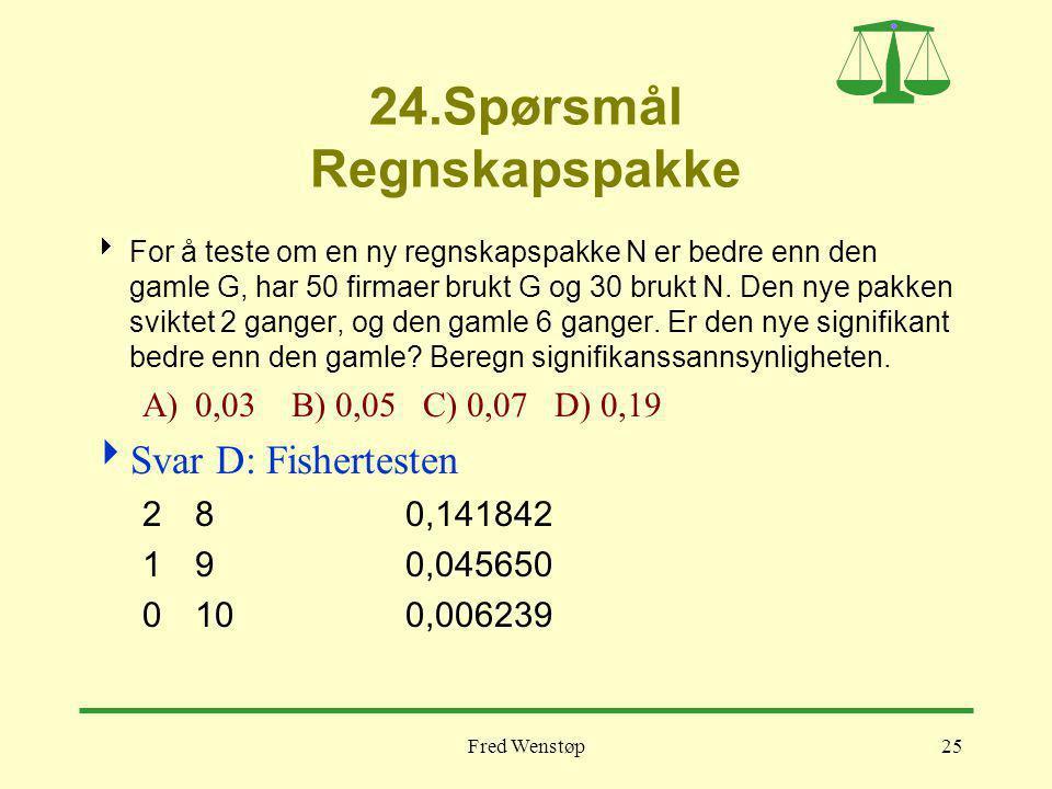 Fred Wenstøp25 24.Spørsmål Regnskapspakke  For å teste om en ny regnskapspakke N er bedre enn den gamle G, har 50 firmaer brukt G og 30 brukt N. Den