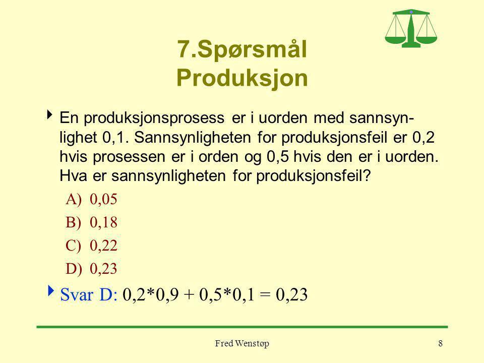 Fred Wenstøp8 7.Spørsmål Produksjon  En produksjonsprosess er i uorden med sannsyn- lighet 0,1. Sannsynligheten for produksjonsfeil er 0,2 hvis prose
