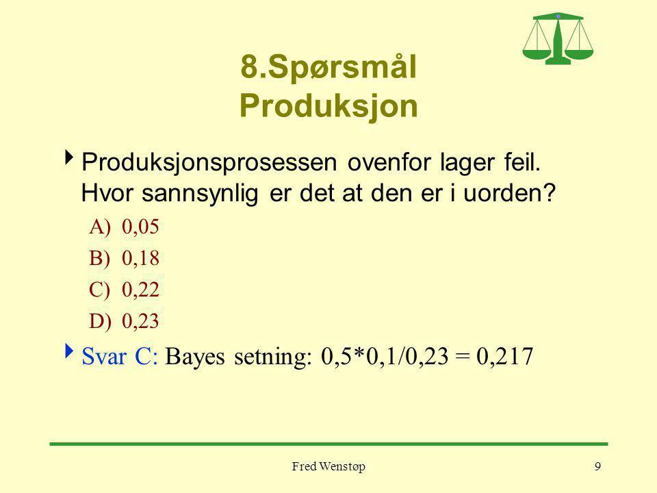 Fred Wenstøp9 8.Spørsmål Produksjon  Produksjonsprosessen ovenfor lager feil. Hvor sannsynlig er det at den er i uorden? A)0,05 B)0,18 C)0,22 D)0,23