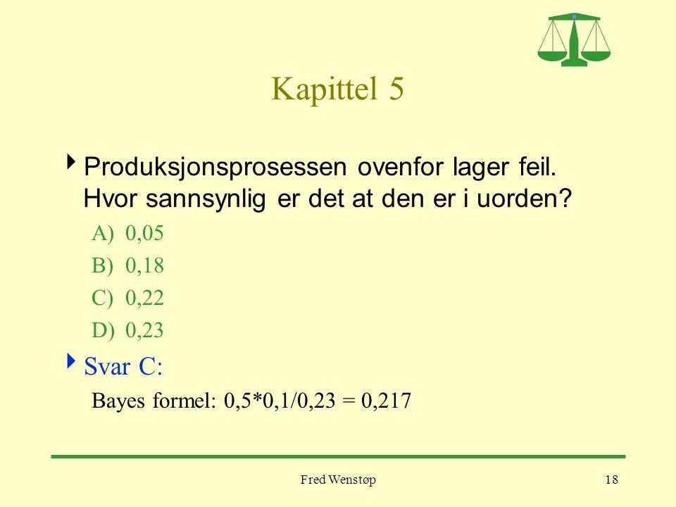 Fred Wenstøp18 Kapittel 5  Produksjonsprosessen ovenfor lager feil. Hvor sannsynlig er det at den er i uorden? A)0,05 B)0,18 C)0,22 D)0,23  Svar C: