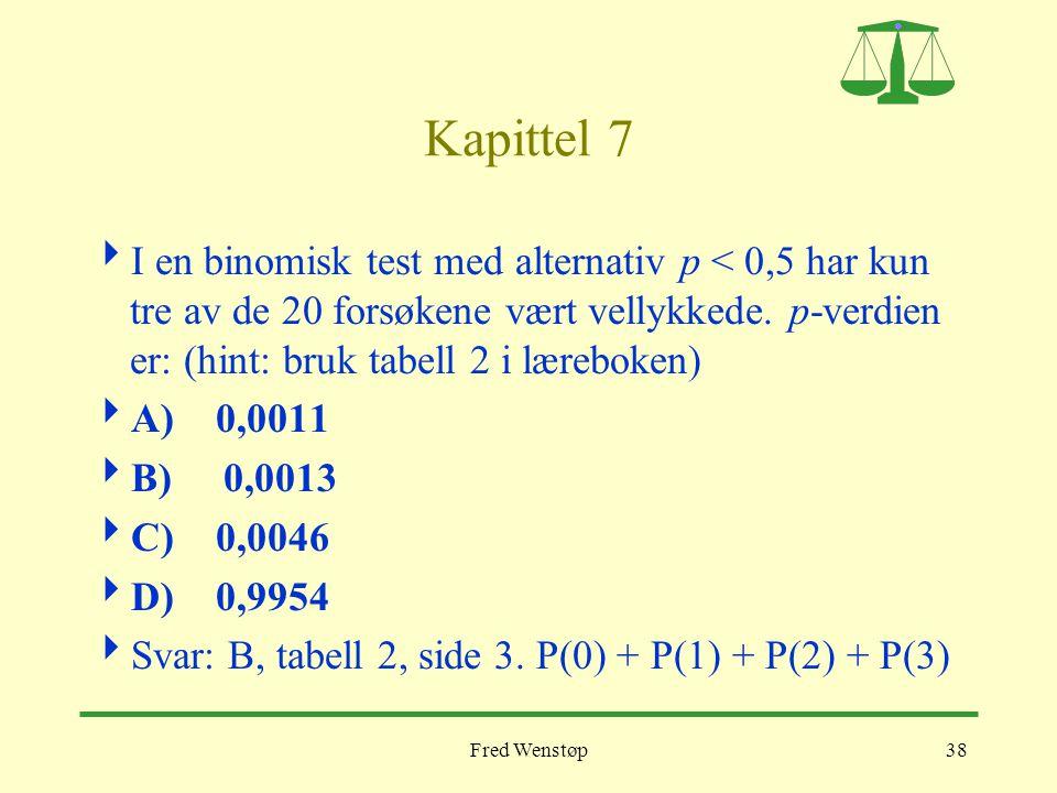 Fred Wenstøp38 Kapittel 7  I en binomisk test med alternativ p < 0,5 har kun tre av de 20 forsøkene vært vellykkede. p-verdien er: (hint: bruk tabell
