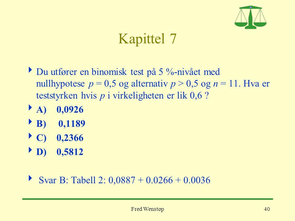 Fred Wenstøp40 Kapittel 7  Du utfører en binomisk test på 5 %-nivået med nullhypotese p = 0,5 og alternativ p > 0,5 og n = 11. Hva er teststyrken hvi