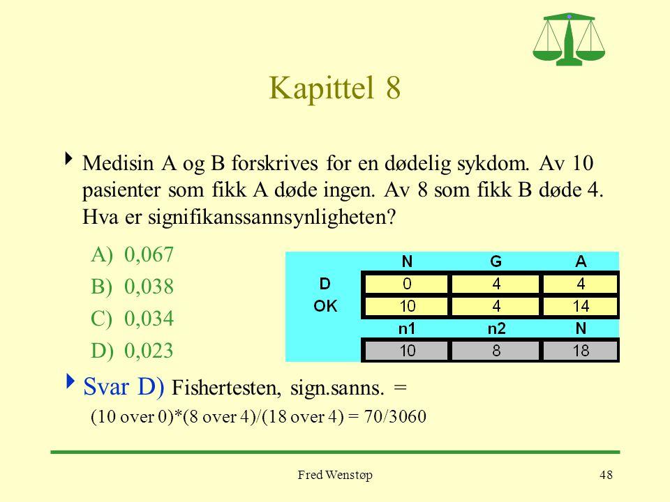 Fred Wenstøp48 Kapittel 8  Medisin A og B forskrives for en dødelig sykdom. Av 10 pasienter som fikk A døde ingen. Av 8 som fikk B døde 4. Hva er sig