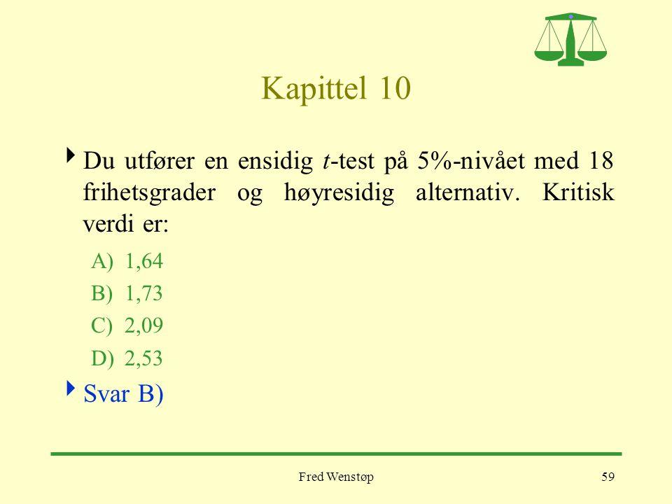 Fred Wenstøp59 Kapittel 10  Du utfører en ensidig t-test på 5%-nivået med 18 frihetsgrader og høyresidig alternativ. Kritisk verdi er: A)1,64 B)1,73