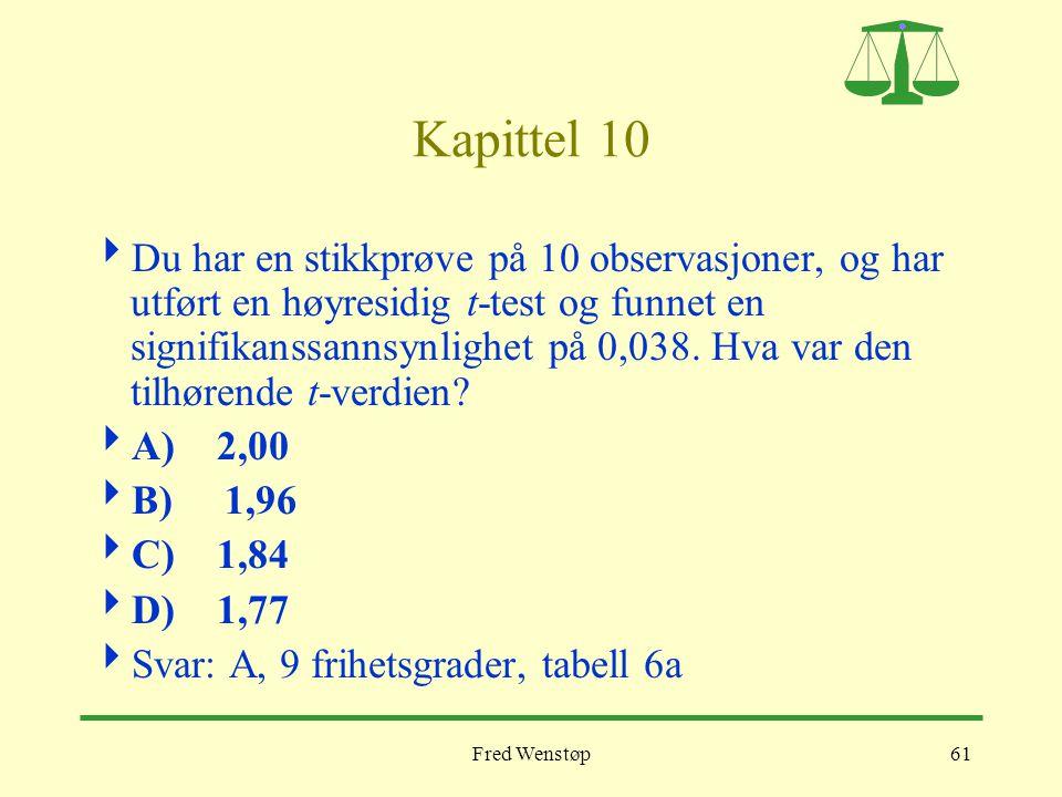 Fred Wenstøp61 Kapittel 10  Du har en stikkprøve på 10 observasjoner, og har utført en høyresidig t-test og funnet en signifikanssannsynlighet på 0,0