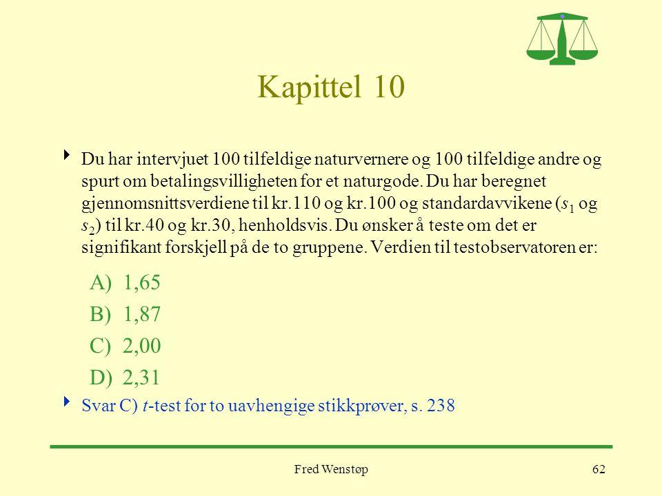 Fred Wenstøp62 Kapittel 10  Du har intervjuet 100 tilfeldige naturvernere og 100 tilfeldige andre og spurt om betalingsvilligheten for et naturgode.
