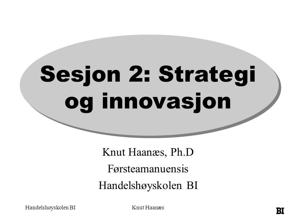 Handelshøyskolen BIKnut Haanæs Sesjon 2: Strategi og innovasjon Knut Haanæs, Ph.D Førsteamanuensis Handelshøyskolen BI