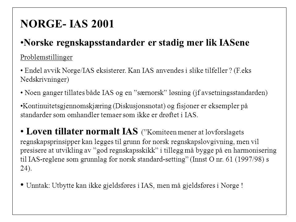 NORGE- IAS 2001 Norske regnskapsstandarder er stadig mer lik IASene Problemstillinger Endel avvik Norge/IAS eksisterer.