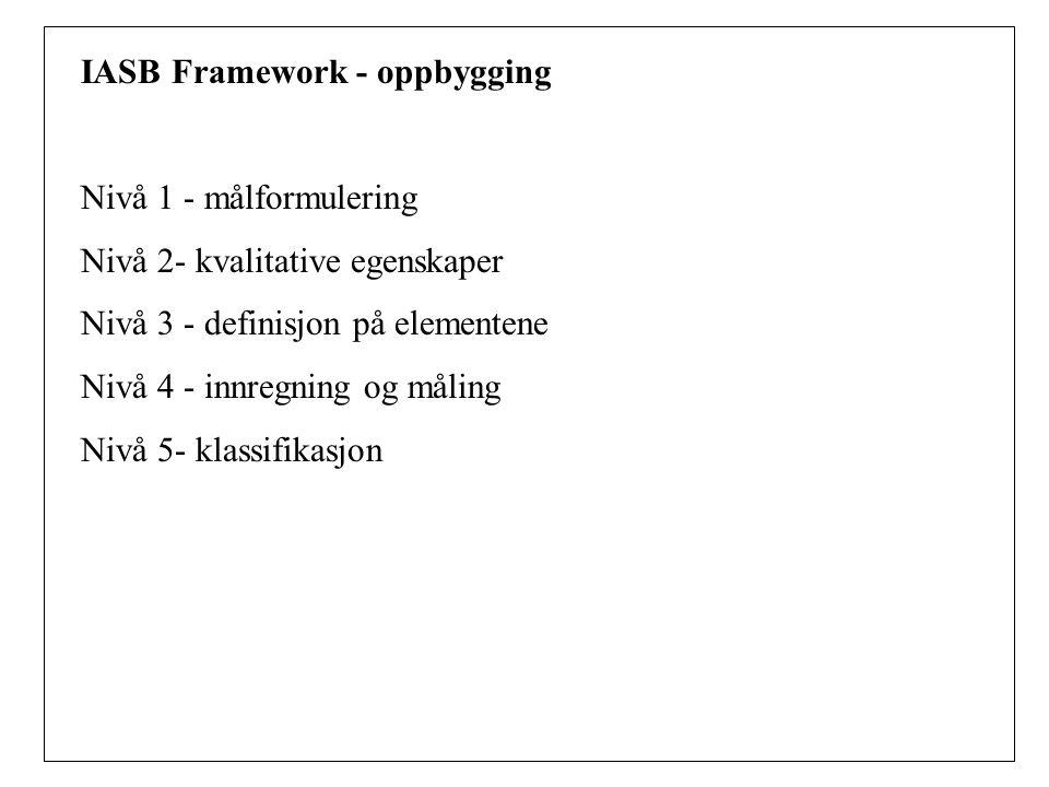 IASB Framework - oppbygging Nivå 1 - målformulering Nivå 2- kvalitative egenskaper Nivå 3 - definisjon på elementene Nivå 4 - innregning og måling Nivå 5- klassifikasjon