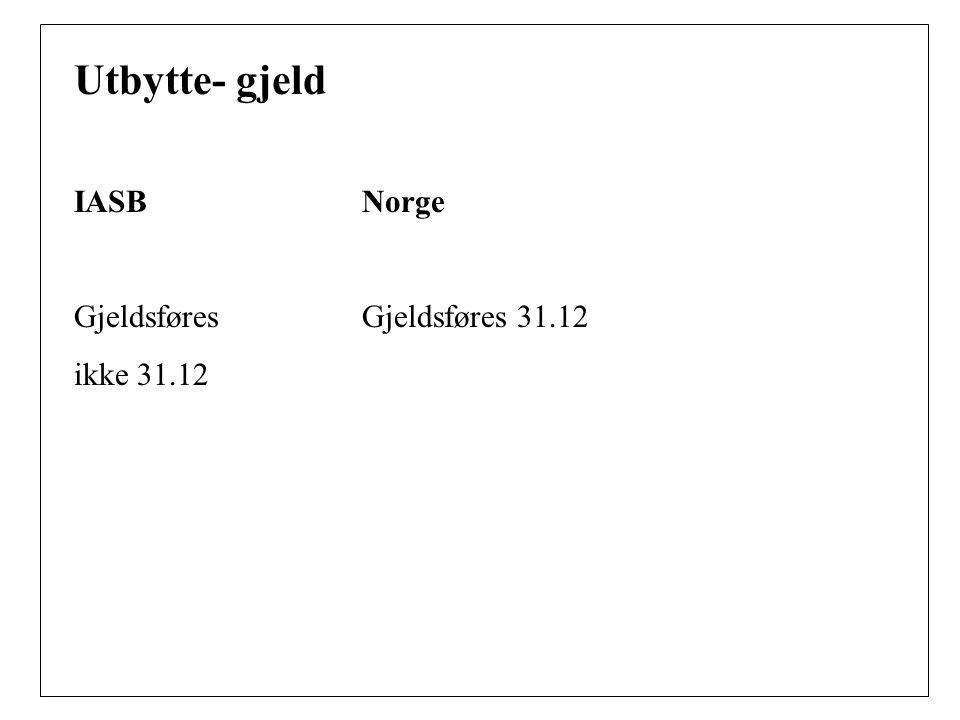 Utbytte- gjeld IASBNorge Gjeldsføres Gjeldsføres 31.12 ikke 31.12