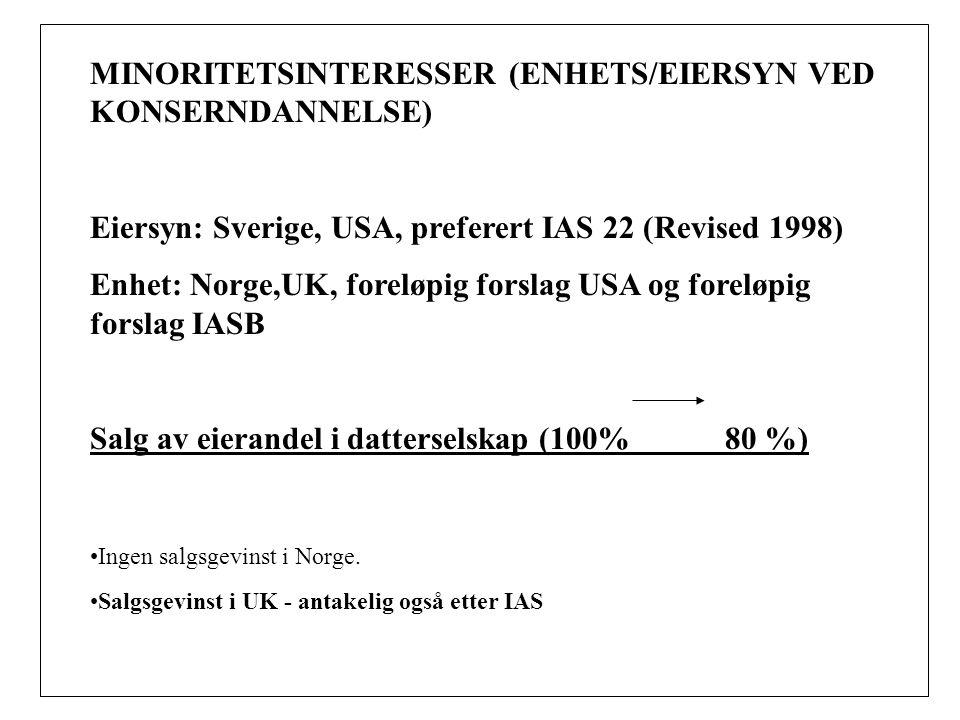 MINORITETSINTERESSER (ENHETS/EIERSYN VED KONSERNDANNELSE) Eiersyn: Sverige, USA, preferert IAS 22 (Revised 1998) Enhet: Norge,UK, foreløpig forslag USA og foreløpig forslag IASB Salg av eierandel i datterselskap (100% 80 %) Ingen salgsgevinst i Norge.
