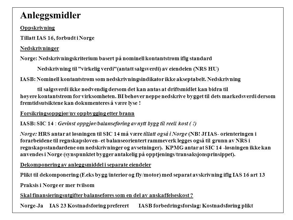 Anleggsmidler Oppskrivning Tillatt IAS 16, forbudt i Norge Nedskrivninger Norge: Nedskrivningskriterium basert på nominell kontantstrøm iflg standard Nedskrivning til virkelig verdi (antatt salgsverdi) av eiendelen (NRS HU) IASB: Nominell kontantstrøm som nedskrivningsindikator ikke akseptabelt.