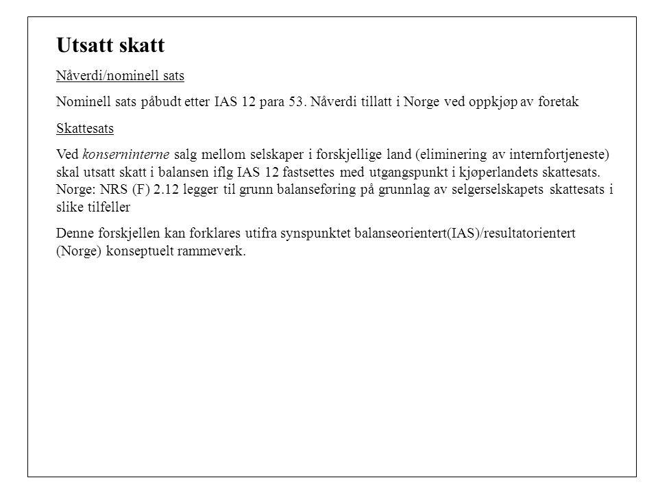Utsatt skatt Nåverdi/nominell sats Nominell sats påbudt etter IAS 12 para 53.