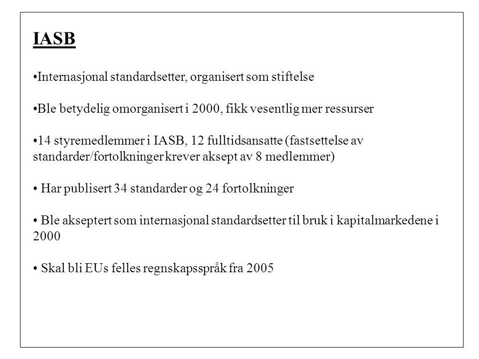 IASB Internasjonal standardsetter, organisert som stiftelse Ble betydelig omorganisert i 2000, fikk vesentlig mer ressurser 14 styremedlemmer i IASB, 12 fulltidsansatte (fastsettelse av standarder/fortolkninger krever aksept av 8 medlemmer) Har publisert 34 standarder og 24 fortolkninger Ble akseptert som internasjonal standardsetter til bruk i kapitalmarkedene i 2000 Skal bli EUs felles regnskapsspråk fra 2005