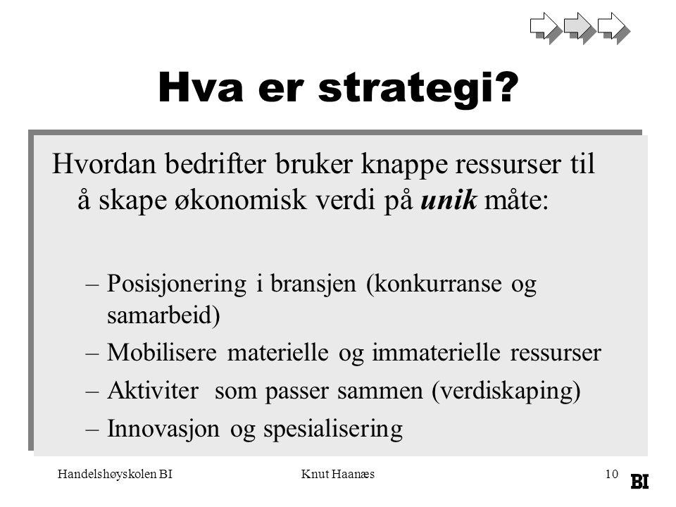 Handelshøyskolen BIKnut Haanæs10 Hva er strategi? Hvordan bedrifter bruker knappe ressurser til å skape økonomisk verdi på unik måte: –Posisjonering i