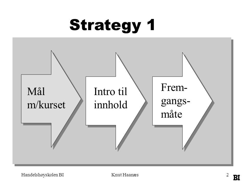 Handelshøyskolen BIKnut Haanæs13 Elementer i strategi Ressurser (kompetanse og nettverk) Bransje (konkurransekrefter) Aktiviterer (verdiskaping) Prosesser (implementering, læring, endring, innovasjon)