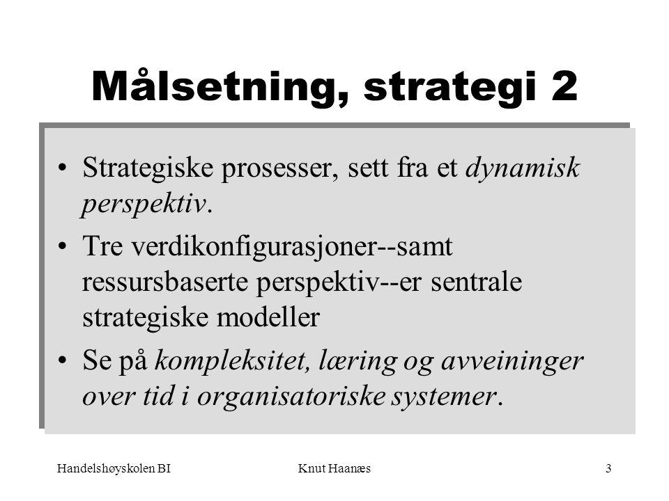 Handelshøyskolen BIKnut Haanæs4 Dato Tema 5/1 12/1 19/1 26/1 2/2 9/2 16/2 Fra strategi som analyse til strategi som prosess Kompleksitet og kaosteori (Trond Rieber Knudsen) Scenarieanalyse i strategiarbeidet (Bent Erik Bakken) + case 1 Endringsprosesser Implementering av strategi (Øystein Fjeldstad) Oppsummering (Svein Ribe-Anderssen) Motstand mot forandring (Steinar Bjartveit) + case 2 23/2 1/3 Strategi og innovasjon Organisasjonslæring (Bent Erik Bakken)