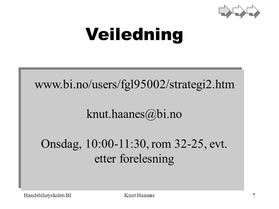 Handelshøyskolen BIKnut Haanæs7 Veiledning www.bi.no/users/fgl95002/strategi2.htm knut.haanes@bi.no Onsdag, 10:00-11:30, rom 32-25, evt. etter foreles