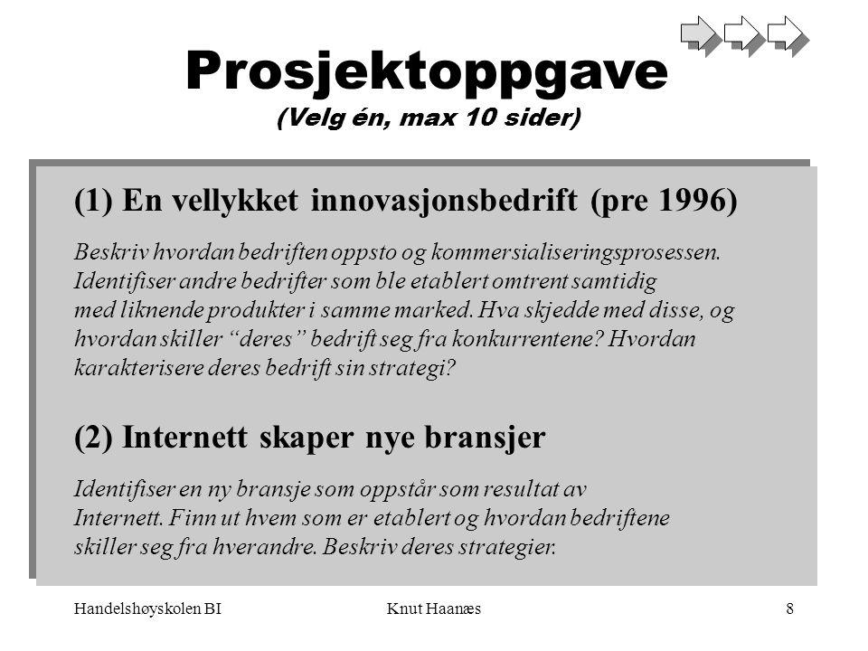 Handelshøyskolen BIKnut Haanæs8 Prosjektoppgave (Velg én, max 10 sider) (1) En vellykket innovasjonsbedrift (pre 1996) Beskriv hvordan bedriften oppst