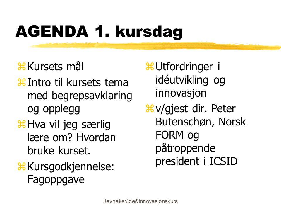 Jevnaker/ide&innovasjonskurs AGENDA 1.