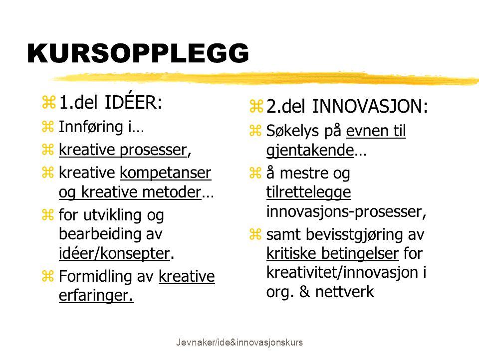 Jevnaker/ide&innovasjonskurs KURSOPPLEGG z1.del IDÉER: zInnføring i… zkreative prosesser, zkreative kompetanser og kreative metoder… zfor utvikling og bearbeiding av idéer/konsepter.