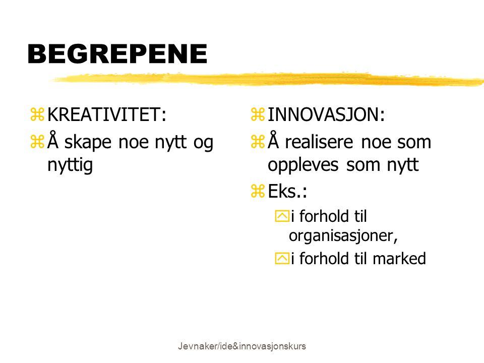 Jevnaker/ide&innovasjonskurs BEGREPENE zKREATIVITET: zÅ skape noe nytt og nyttig z INNOVASJON: z Å realisere noe som oppleves som nytt z Eks.: yi forhold til organisasjoner, yi forhold til marked