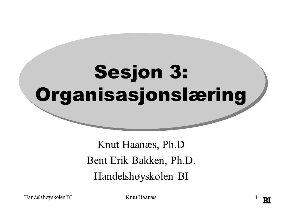 Handelshøyskolen BIKnut Haanæs1 Sesjon 3: Organisasjonslæring Knut Haanæs, Ph.D Bent Erik Bakken, Ph.D.