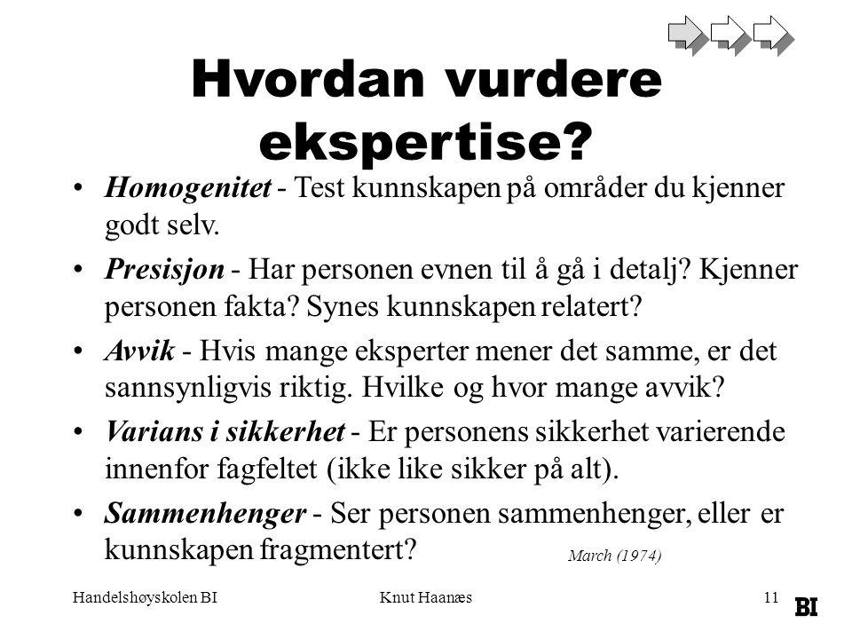 Handelshøyskolen BIKnut Haanæs11 Hvordan vurdere ekspertise.